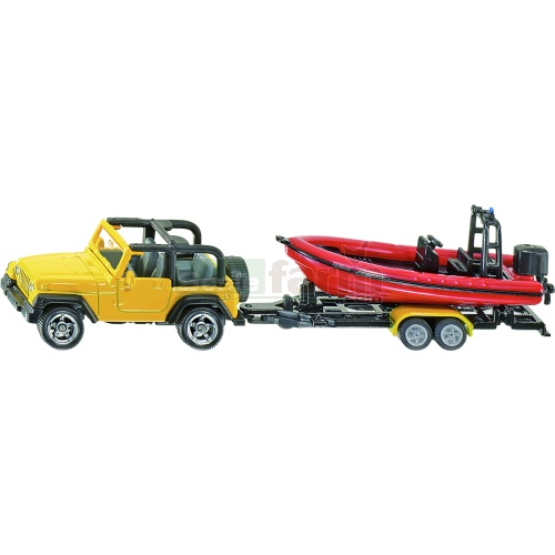 Jeep Wrangler with Boat and Trailer (SIKU 1658)