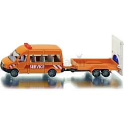 Transporter with Traffic Control Trailer - Die cast miniatures from SIKU (SIKU 1660)