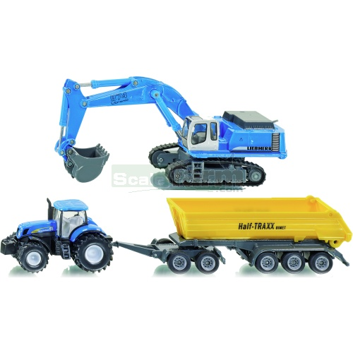 Construction Set with New Holland T7070 Tractor and Liebherr 974 Excavator (SIKU 1815)