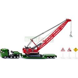Heavy Haulage Transporter with Excavator and Rescue Vehicle - Super Series from SIKU - 1:87 scale (SIKU 1834)