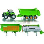 Deutz-Fahr Agrotron Tractor with Joskin 3 Trailer Set - Farmer Series from SIKU - 1:87 scale  (SIKU 1848)