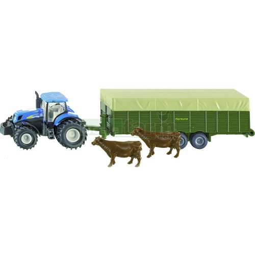 New Holland T7070 Tractor and Fortuna Livestock Trailer (SIKU 1863)