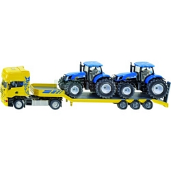 Scania Truck with Low Loader & 2 New Holland Tractors - Farmer Series from SIKU - 1:50 scale (SIKU 1984)