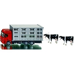 Mercedes Benz Actros KA-BA Livestock Transporter and Two cows - Super Series from SIKU - 1:50 Scale  (SIKU 2713)