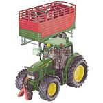 John Deere 7530 Tractor with Stock Trailer - Farmer Series from SIKU - 1:32 scale  (SIKU 3864)