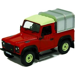 Land Rover Defender 90 with Canopy (Red) - Authentic Farm Model from Britains - 1:32 scale (Britains 42732)