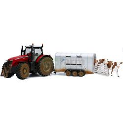 Siku 8608 Massey Ferguson 894 with Ifor Williams Stock Trailer & Cows 1:32 Scale