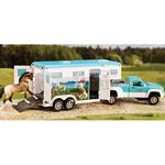 Stablemates Pick-up Truck & Gooseneck Trailer - Turquoise & White - Breyer Stablemates - 1:32 scale  (Breyer 5356)