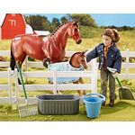 New Arrival at the Barn - 2 Horse and Figure Set