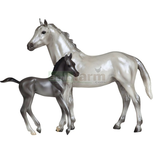 Grey Thoroughbred and Dark Grey Foal (Breyer 62031)