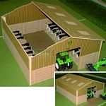 Basics Wooden Cow House - Brushwood Toys - 1:32 Scale  (Brushwood BB9200)