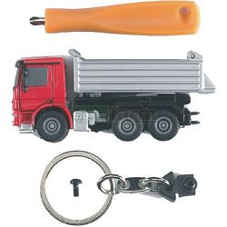 Mercedes Benz Actros Tip Up Truck With Key Ring And Screwdriver - Bruder Mini Series (Bruder 00600)