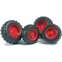Twin Tyres With Red Rims - 02000 Series - Bruder - just like the real thing - 1:16 scale (Bruder 02013)