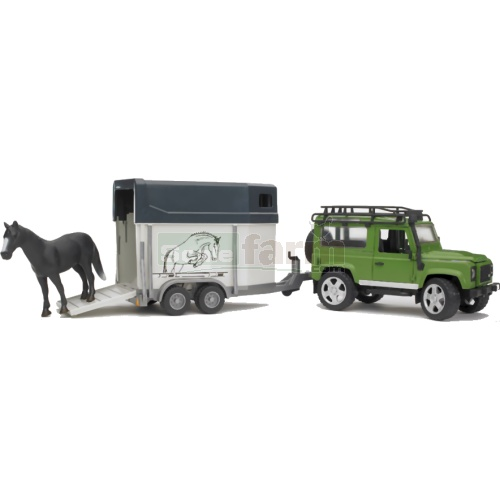 Land Rover Defender Station Wagon with Horse Box and Horse (Bruder 02592)