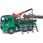 MAN Timber Truck With Loading Crane And 3 Trunks - Bruder - just like the real thing - 1:16 scale  (Bruder 02769)
