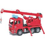 MAN Fire Engine Crane Truck With Lights And Sound Module - Bruder - just like the real thing - 1:16 scale  (Bruder 02770)