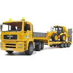 MAN TGA Low Loader Truck with JCB 4CX Backhoe Loader - Bruder - just like the real thing - 1:16 scale  (Bruder 02776)