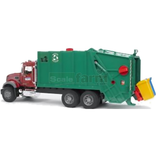 MACK Granite Garbage Truck (Red / Green) (Bruder 02812)