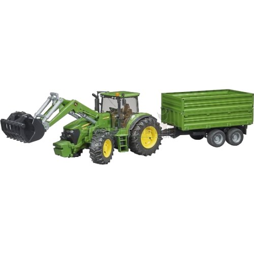 John Deere 7930 Tractor with Frontloader and Tandem Axle Tipping Trailer (Bruder 03055)