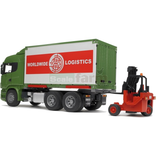 Scania R-Series Container Truck with Forklift (Bruder 03580)