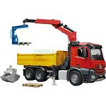 Mercedes Benz Arocs Truck with Roll-Off Container, Clamshell Buckets and 2 Pallets