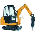 JCB 8016 Mini Excavator with Hydraulic Hammer - Joal die cast - 1:25 scale  (Joal 233)