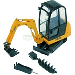 JCB 8016 Mini Excavator Set with 3 Attachments - Joal die cast - 1:25 scale  (Joal 403)