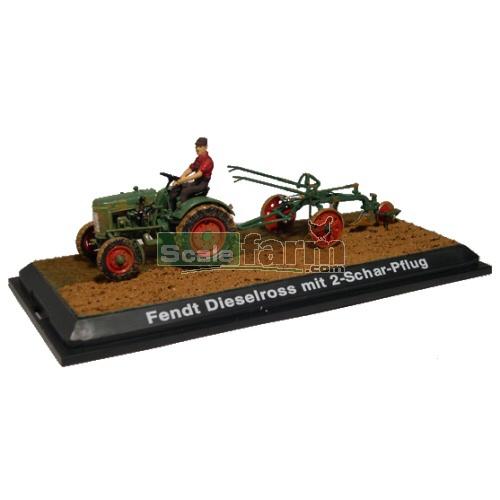 schuco 02727 fendt dieselross vintage tractor with plough. Black Bedroom Furniture Sets. Home Design Ideas