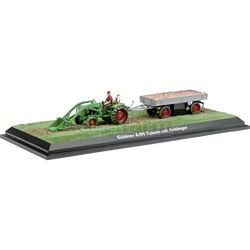 Guldner Toledo A4M Vintage Tractor with Frontloader and Trailer - Schuco Miniature Collectable Models - 1:43 scale (Schuco 02956)