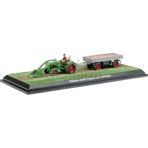 Guldner Toledo A4M Vintage Tractor with Frontloader and Trailer (Schuco 02956)