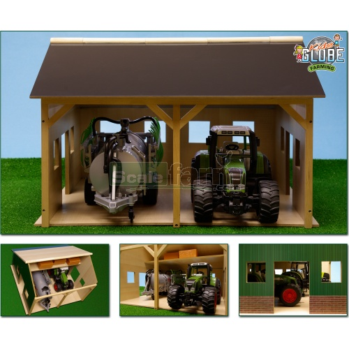 Wooden Farm Shed For Two Tractors (Kids Globe 610338)