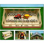 Wooden Cow Stable with Feed Rail - Kids Globe - 1:32 scale  (Kids Globe 610540)