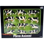 Black and White Cows (12 pack) - Kids Globe - 1:32 scale  (Kids Globe 571929)