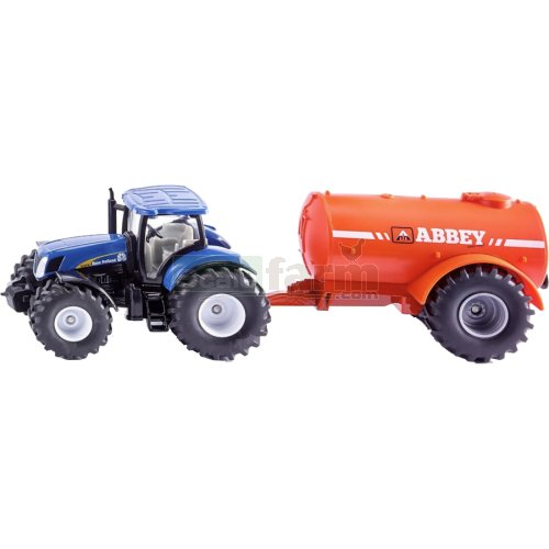 New Holland T7070 Tractor with Abbey Single Axle Vacuum Tanker (SIKU 1945)