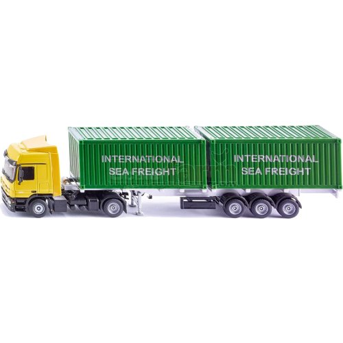 Mercedes Benz Actros Semi Trailer with 2 Containers (SIKU 3921)