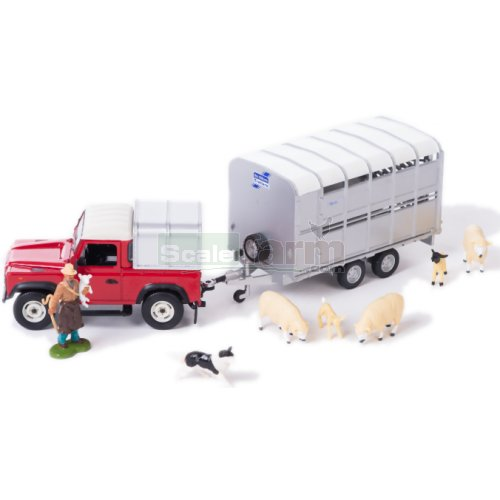Land Rover Defender 90 with Ifor Williams Livestock Trailer, Farmer and Sheep (Britains 43138A1)