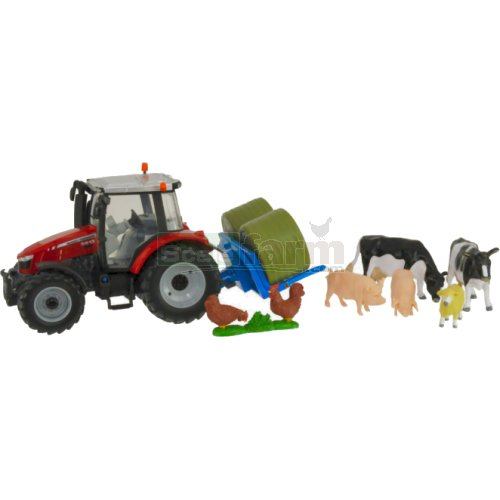 Massey Ferguson 5612 Tractor with Bale Carrier, Bales and Livestock (Britains 43205)