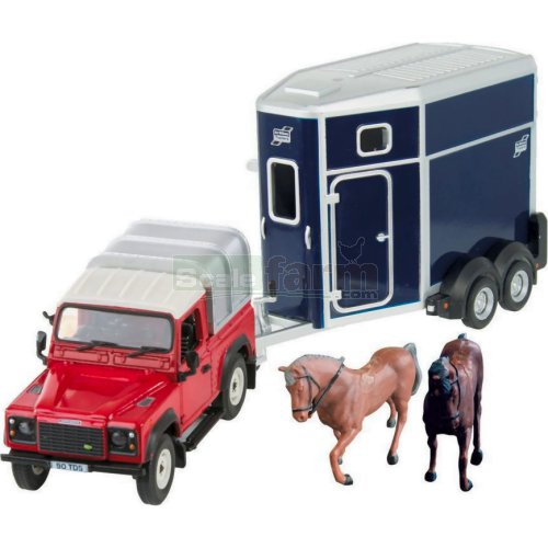 Land Rover Defender 90 with Ifor Williams HB506 Horse Box and Horses (Britains 43239)