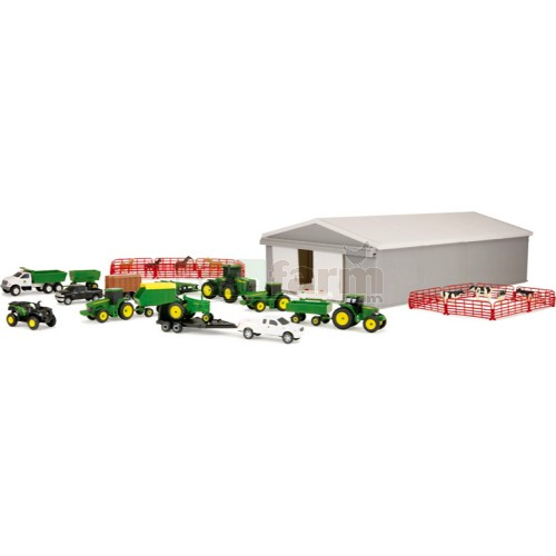 John Deere Farm Toy Playset including Machinery Shed, 9 Vehicles and 7 Implements (Britains 46276B1)