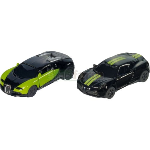 Black and Green Special Edition 2 Car Set - Bugatti Veyron / Alfa Romeo 4C (SIKU 6309)