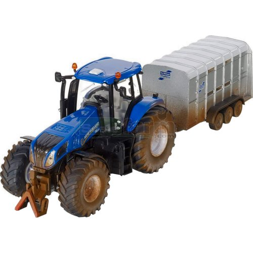 New Holland T8.390 Tractor with Ifor Williams Livestock Trailer - Mud Effect (SIKU 8607)