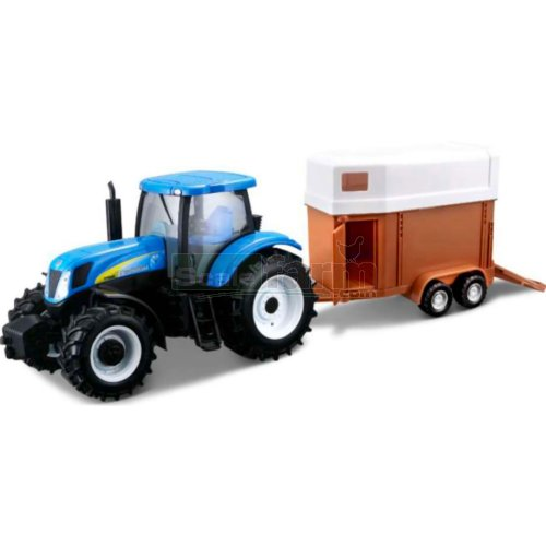 New Holland T7040 Tractor and Horse Trailer (Bburago 44062)