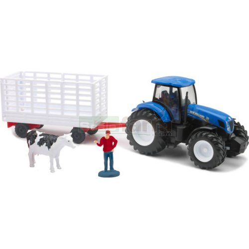 New Holland T7.270 Tractor with Livestock Trailer and Accessories (NewRay 05675)