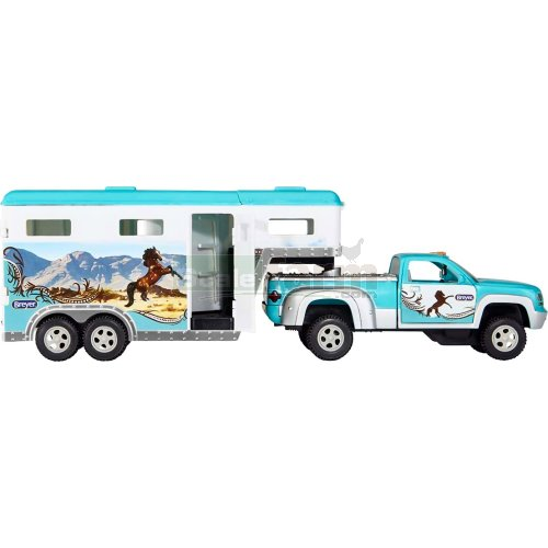 Stablemates Pick-up Truck and Gooseneck Trailer - Turquoise/White (Breyer 6046)