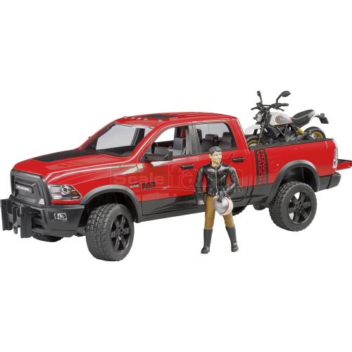 RAM 2500 Power Wagon Pick Up Truck with Ducati Scrambler Desert Sled and Rider (Bruder 02502)