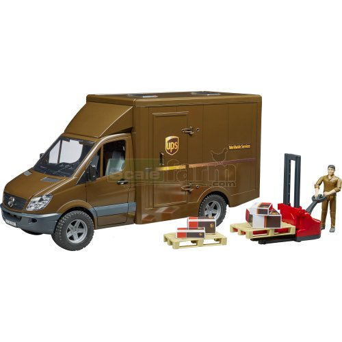 Mercedes Benz Sprinter UPS Delivery Van with Pallet Mover and Figure (Bruder 02538)