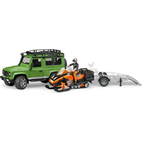 Land Rover Defender Station Wagon with Trailer, Snowmobile, Driver and Accessories (Bruder 02594)