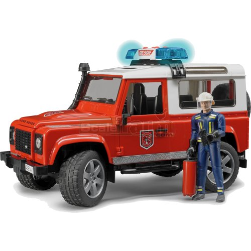 Land Rover Defender Station Wagon Fire Department with Fireman (Bruder 02596)