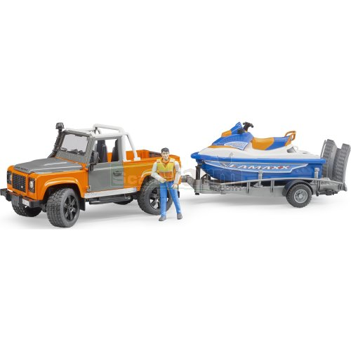 Land Rover Defender Pick Up with Trailer, Personal Water Craft and Figure (Bruder 02599)