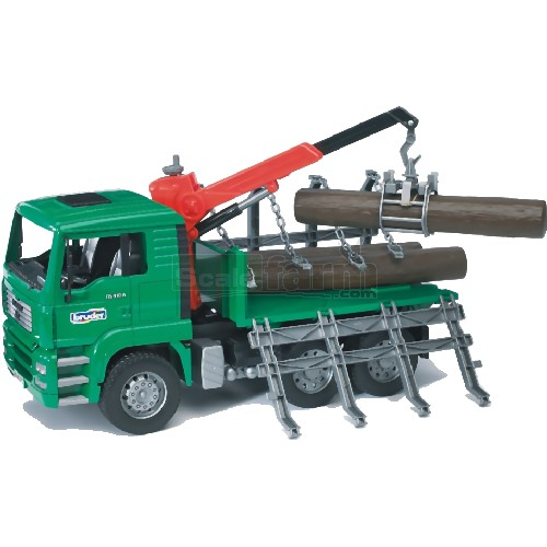 MAN Timber Truck With Loading Crane And 3 Trunks (Bruder 02769)